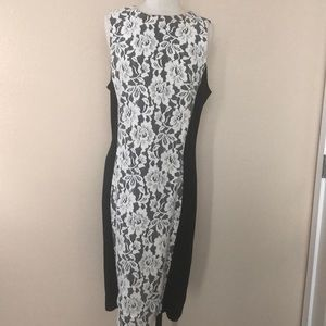 Black dress with white lace front
